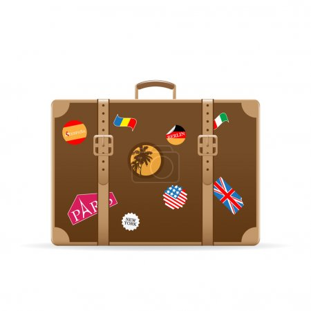 Illustration for Vector brown suitcase with travel stickers isolated on white - Royalty Free Image