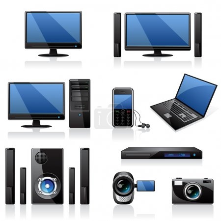 Illustration for Electronics and computers equipment icon set - Royalty Free Image