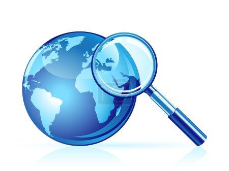 Photo pour Icône de recherche globale. loupe et globe - image libre de droit