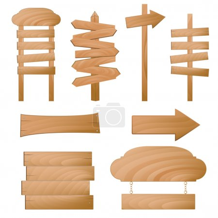 Illustration for Set of wooden signs isolated on white. - Royalty Free Image