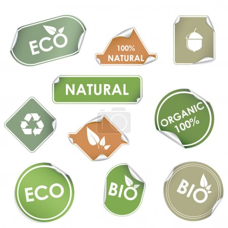 Illustration for Set of green eco recycling labels isolated on white. - Royalty Free Image