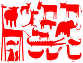 Animal red silhouettes isolated on white background vector art illustration
