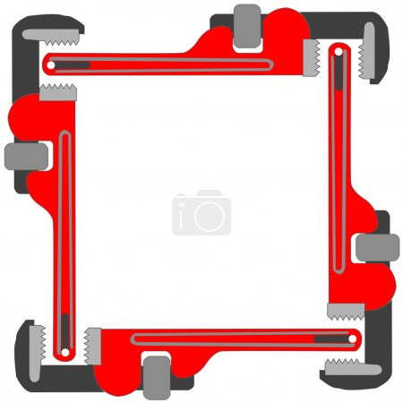 Illustration for Pipe wrench photo frame, vector art illustration; more photo frames in my gallery - Royalty Free Image