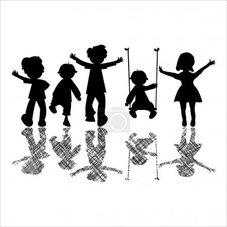 Illustration for Happy little children with striped shadows - Royalty Free Image