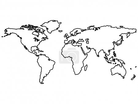 Black world map outlines on white