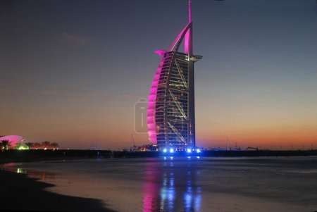 Burj Al Arab landmark after sunset