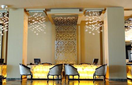 Lobby area in luxury hotel
