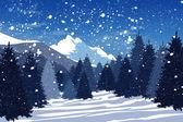 "Постер, картина, фотообои ""Зимний лес в горах"""