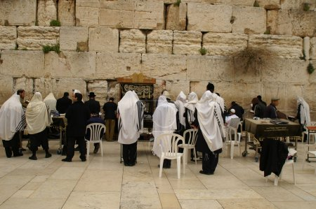 Jewish prayers near wailing wall