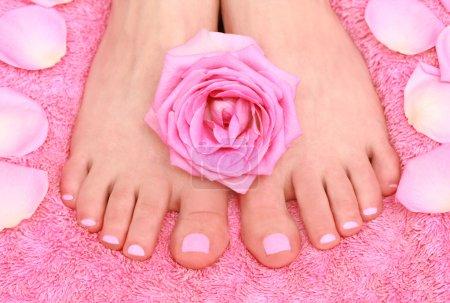Photo pour Soins pour les pieds féminins - image libre de droit