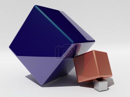 Photo pour Différentes tailles et cubes de couleur, mis obliquement l'un sur l'autre - image libre de droit