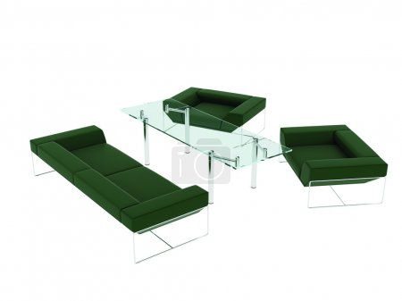 Photo for Leather sofa with green chairs and glass table for the office - Royalty Free Image