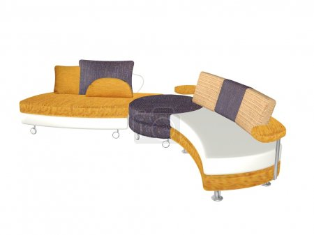 Photo for 3d model of colorful sofa bed - Royalty Free Image
