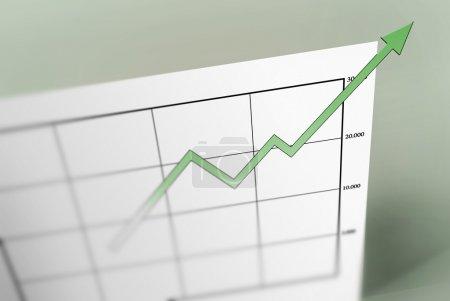 Photo pour Une flèche verte pointant vers le haut sur une feuille graphique. casser le papier sur lequel il est imprimé . - image libre de droit