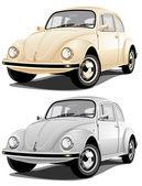 Gold and silver retro car vector design element