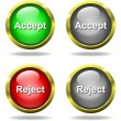 Set of glass Accept - Reject buttons in golden rim...