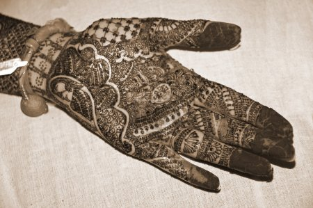 Henna Tattoo on Hands sepia