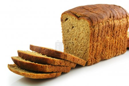 Whole Wheat Sliced Bread Isolated on White Backgro...