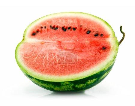 Half of Ripe Sliced Green Watermelon Iso