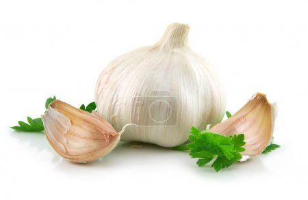 Photo for Garlic Vegetable with Green Parsley Leaves Isolated on White Background - Royalty Free Image