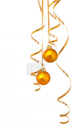 Photo for Pair of gold balls with gold tinsel - Royalty Free Image