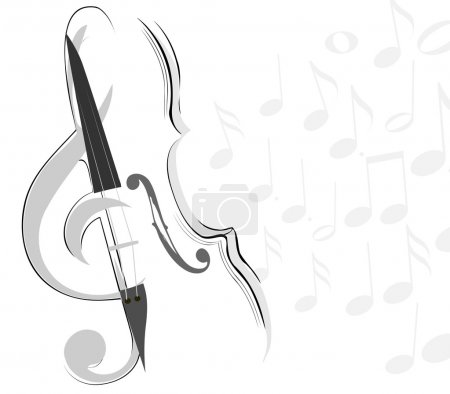 Illustration for Abstract violin and key lines - Royalty Free Image