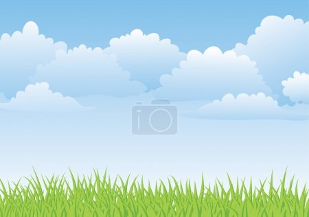 Illustration for Fresh spring landscape with sky and grass - Royalty Free Image
