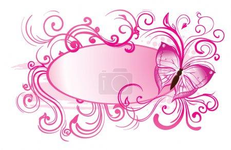 Illustration pour Fond avec des papillons roses et des cercles - image libre de droit