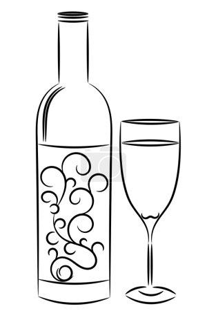 Illustration pour Bouteille de vin et verre dans le style contour - image libre de droit