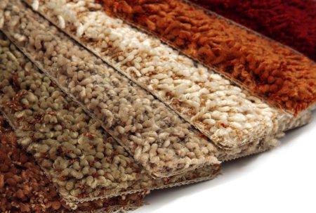 Photo pour Échantillons de revêtements de tapis sur fond blanc - image libre de droit