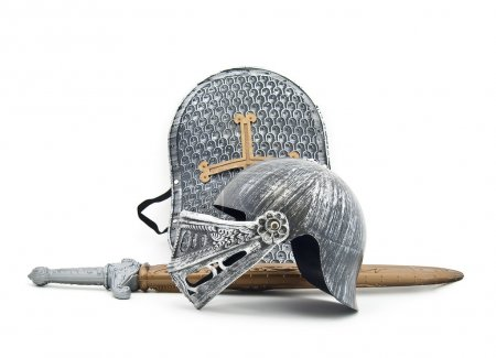 Toy armour of the knight: a board, a sword, a helm...