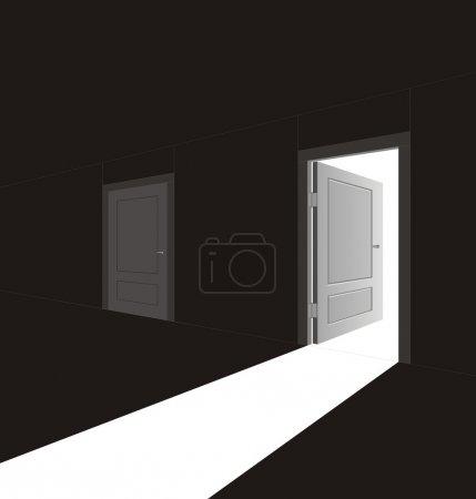 Illustration pour L'image vectorielle d'une porte ouverte et de la lumière qui la traverse - image libre de droit