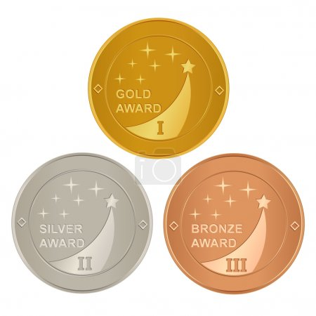 Set of gold, silver and bronze awards
