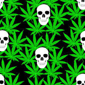 Seamless pattern with cannabis leafs and