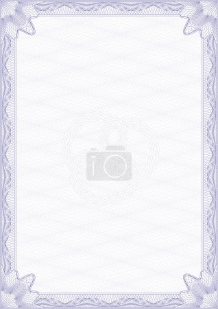 Illustration for Guilloche style blank certificate - Royalty Free Image