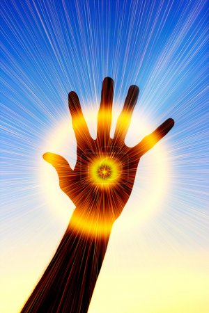 Photo for The conceptual image of a hand which radiates rays of light - Royalty Free Image