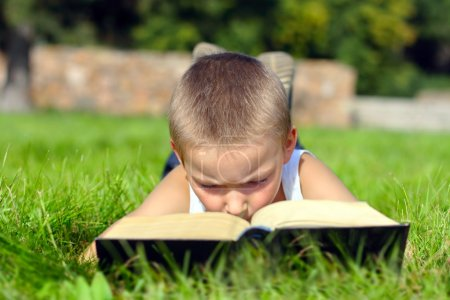Photo for The child attentively reads the book on a summer meadow - Royalty Free Image