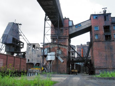 Photo for The old and thrown factory or the thrown mine in cloudy day - Royalty Free Image