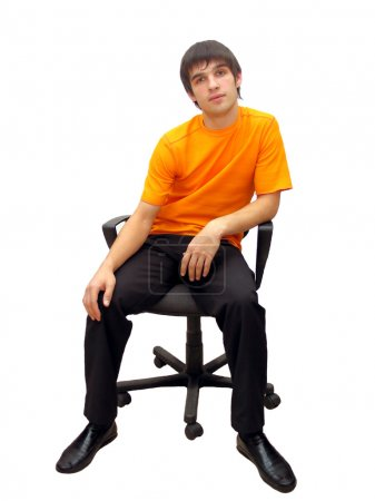 Photo for Man on the chair isolated on the white - Royalty Free Image