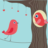 Birds in love on the tree