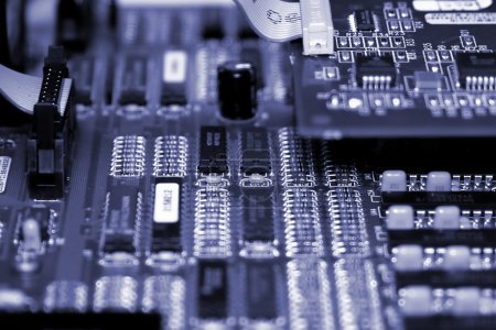 Photo for Motherboard with different types of chips and colors - Royalty Free Image