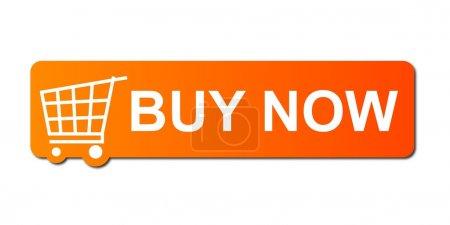Photo pour Acheter maintenant bouton avec un panier sur fond blanc . - image libre de droit