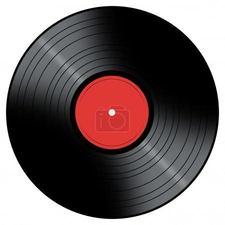 Foto de Disco de vinilo con un centro de color sobre un fondo blanco. - Imagen libre de derechos
