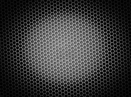 Photo pour Illustration 3d de fond noir et blanc en nid d'abeille ou de la toile de fond avec effet lumineux - image libre de droit