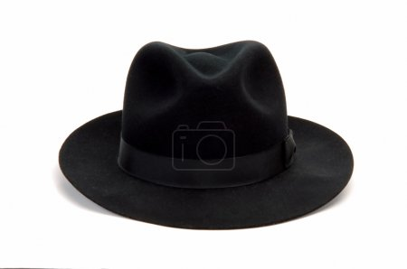 Photo for Black man hat isolated at white background - Royalty Free Image
