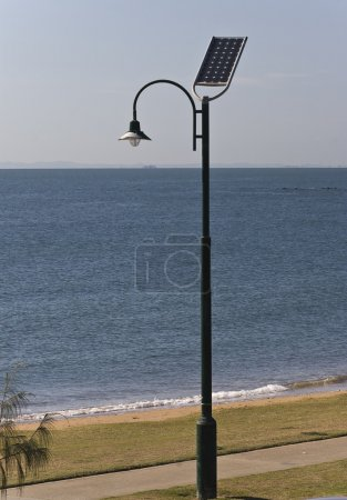 Photo for Street lamp poles powered by solar energy - Royalty Free Image