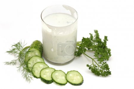 Kefir with cucumber, parsley and fennel isolated o...
