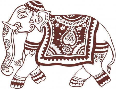 Illustration for Vector traditional decorated elephant image - Royalty Free Image
