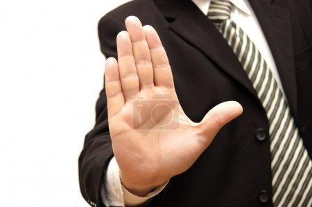 Photo pour Hommes à main signalisation d'arrêt isolé sur fond blanc - image libre de droit