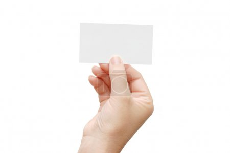 Presenting a Business Card in hand